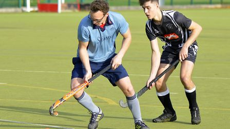 Action from St Neots 1sts' draw with Leadenham 1sts in the East Men's League. Picture: DUNCAN LAMONT