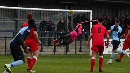 Alan Musoke (far left) opens the scoring in St Neots Town's win against Wantage Town. Picture: DAVID