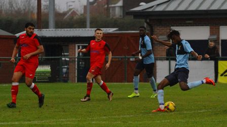 Prince Mutswunguma doubles the lead for St Neots Town against Wantage Town. Picture: DAVID R. W. RIC