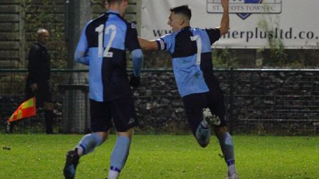 Captain Lee Watkins celebrates his first St Neots Town goal during the win against bottom side Wanta