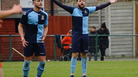 New signing Tommy Boxer makes his point during St Neots Town's victory against Wantage Town. Picture