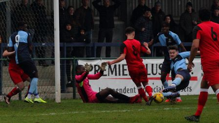 Goalmouth action from the Southern League Division One Central clash between St Neots Town and Wanta