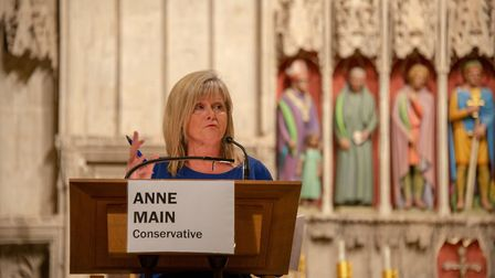 General Election hustings at St Albans Cathedral. Tory candidate Anne Main.