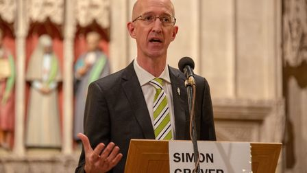 General Election hustings at St Albans Cathedral. Green candidate Simon Grover.