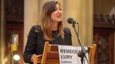 General Election hustings at St Albans Cathedral - Labour candidate Rebecca Lury.