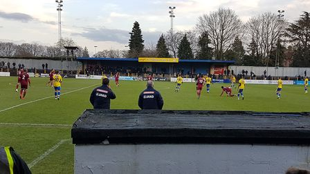 Manager Ian Allinson and new assistant Chris Winton look on as St Albans City take on Chelmsford Cit