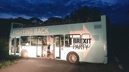 The Brexit Party bus stuck in a ditch. Photograph: Sue Charles/Twitter.