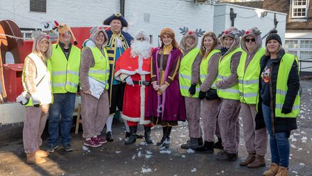 Committee with The Town Crier, Father Christmas and Anna from Frozen.
