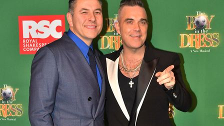 David Walliams and Robbie Williams attending the opening night of the Boy In The Dress at the Royal