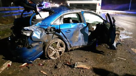 The two occupants of this car fled the scene after a crash involving a HGV on the M1 between Junctio