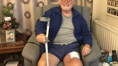 Councillor Derek Giles is recovering at home in St Neots after his cancer treatment