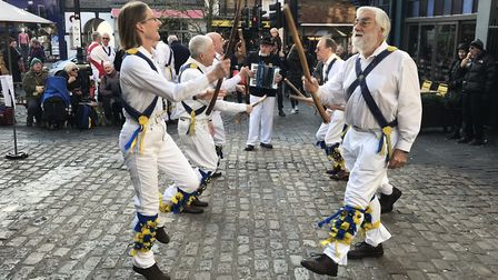 St Albans Morris dancing near the Clock Tower in St Albans to help launch St Albans Folk Festival 2