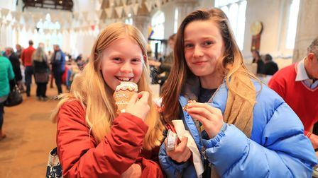 Eating Santa's cookies and mince pies at Ashwell Christmas Fayre 2019. Picture: KEVIN RICHARDS