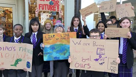 Harpenden children protested over climate change today and also received the support of many adults.