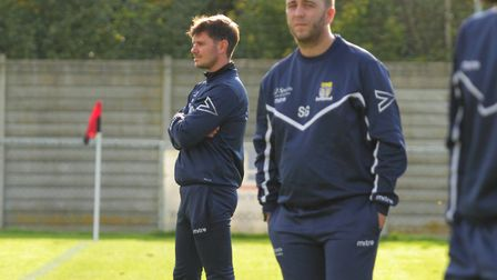 St Neots Town manager Marc Abbott (left) saw his team lose to Kidlington. Picture: DAVID R. W. RICHA