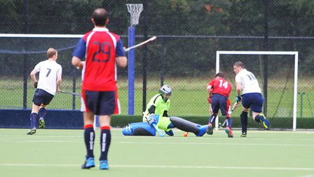 Harpenden keeper Andy King saved a penalty flick against Chelmsford. Picture: KARYN HADDON