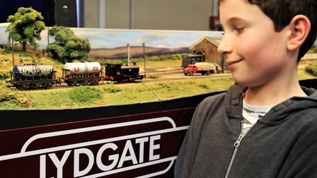 "William Collinge admires 'Lydgate', a ""00"" gauge Lancashire and Yorkshire Railway branch line from"