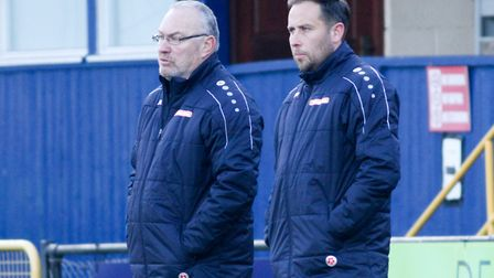 St Albans City manager Ian Allinson (left) with new assistant Chris Winton. Picture: JIM STANDEN