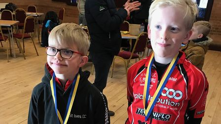 Charlie Trimble (left) and Ralph Bicknell (right) of St Ives Cycling Club. Picture: SUBMITTED