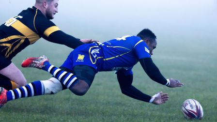 Albiee Tayedzerwa touches down for a try as St Ives beat Northampton Casuals. Picture: PAUL COX