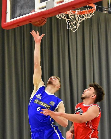 James Cummings in action for Leopards against Liverpool in the National Basketball League Division O