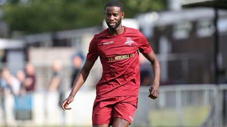 Carl Mensah got his first goal for Harpenden Town after making the switch from WGC. Picture: DANNY L