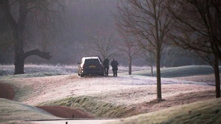 Armed police patrol the golf course at The Grove hotel in Watford, Hertfordshire, where Nato leaders