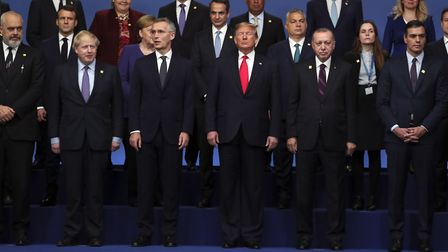Nato leaders pose for a photograph during the annual Nato heads of government summit at The Grove ho