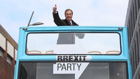Nigel Farage on the Brexit Party bus. Photograph: Danny Lawson/PA.