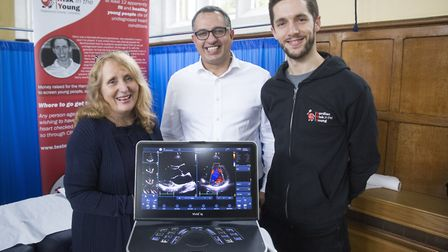 Donna Faulkner with Dr Bashar Ibrahim and CRY ambassador Ben Coleman. Picture: Ollie Moore