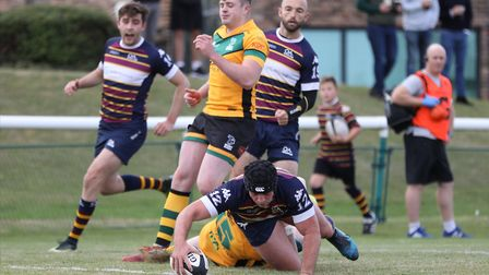 Nic Defeos late try wasnt enough to bring the win for Old Albanian against Barnes. Picture: DANNY LO