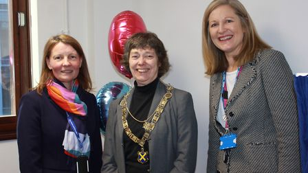 St Albans district council chief executive Amanda Foley, Mayor Cllr Janet Smith and chief executive