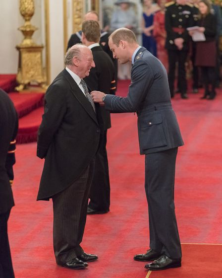 St Albans tailor Geoffrey Golding received the Royal Victorian Order from Prince William. Picture: H