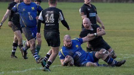 Duncan Williams touches down for a try during St Ives' victory against Stewarts & Lloyds. Picture: P