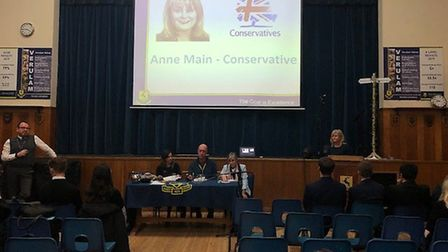 St Albans Conservative candidate Anne Main took part in a General Election hustings at Verulam Schoo