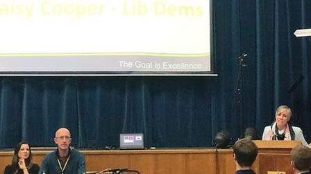 St Albans Liberal Democrat candidate Daisy Cooper took part in a General Election hustings at Verula