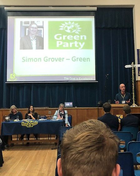 St Albans Green Party candidate Simon Grover took part in a General Election hustings at Verulam Sch