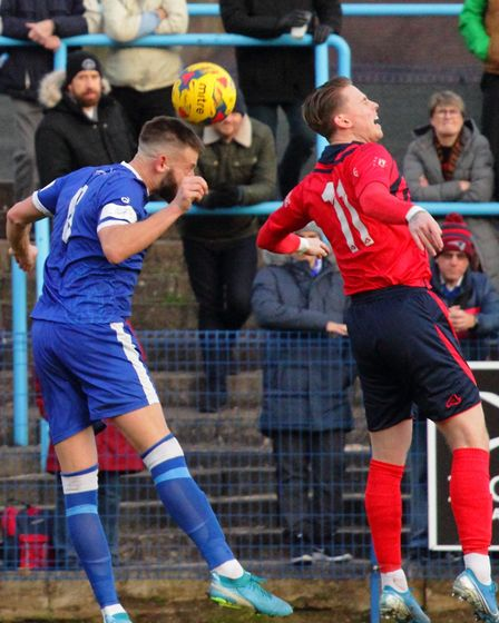 Lewis Foster in action for St Neots Town in their defeat at Halesowen. Picture: DAVID R. W. RICHARDS