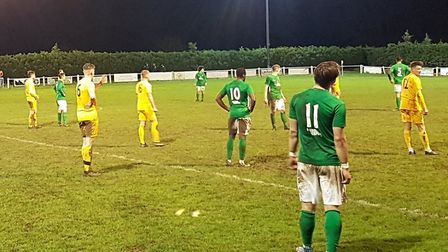 Colney Heath travelled to a wet and windy Newport Pagnell Town in the Spartan South Midlands League