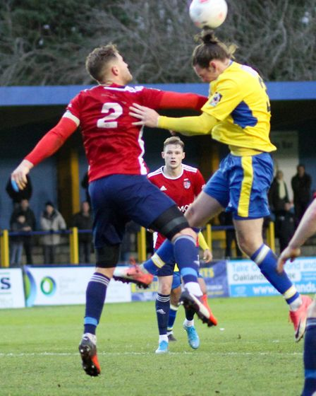 Tom Bender in action for St Albans City against Hampton & Richmond Borough. Picture: JIM STANDEN