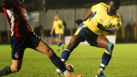 Josh Oyinsan in action for St Albans City against Hampton & Richmond Borough. Picture: JIM STANDEN