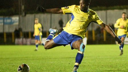 Joel Oyinsan in action for St Albans City against Hampton & Richmond Borough. Picture: JIM STANDEN