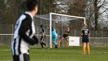 Charlene Moreton's shot from out on the left wing beats Lauren Croucher to complete Colney Heath Lad