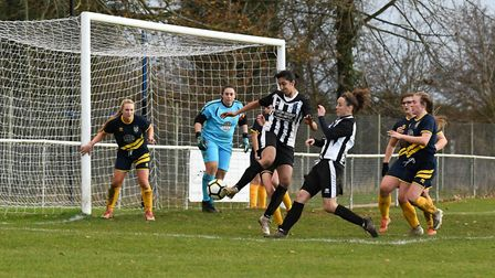 Samaira Khan in action for Colney Heath Ladies in their win over St Albans. Picture: JAMES LATTER