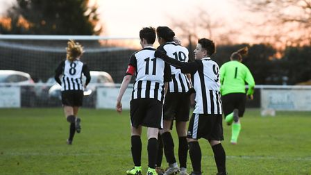 Colney Heath Ladies celebrate in their win over St Albans. Picture: JAMES LATTER