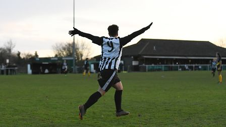 Charlene Moreton celebrates one of her four goals in Colney Heath Ladies' win over St Albans. Pictur