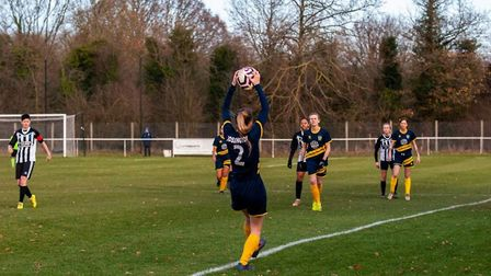 Holly Rossington takes a throw-in for St Albans Ladies against Colney Heath. Picture: LEONIE CITRON