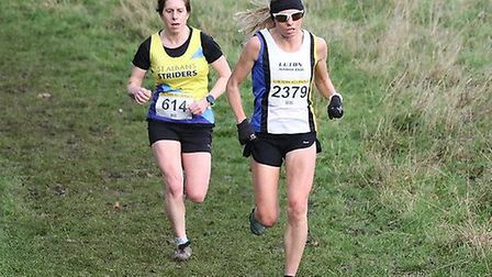 Lucy Waterlow in action for St Albans Striders at the Chiltern Cross Country League match at Stopsle
