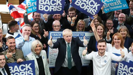 Boris Johnson with those supporting him to be prime minister. Photograph: PA/Jane Barlow.