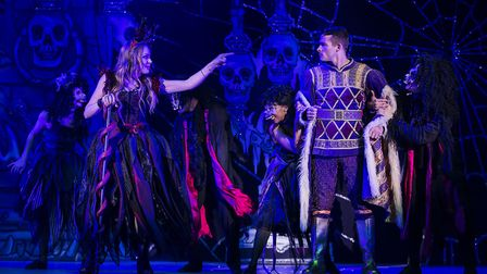 Rita Simons as Carabosse and Phillip Ryan as Prince Charming in St Albans pantomime Sleeping Beauty